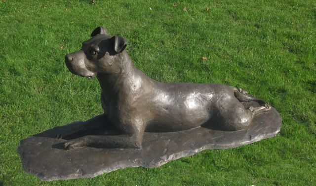 Asha - My Staffordshire Bull Terrier, Lying Staffie sculpture