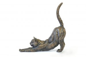 Cat Stretching - Tanya Russell Animal Sculpture