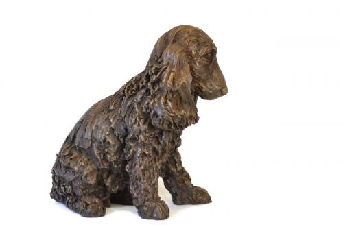 Right side view of Cocker Spaniel sculpture by Tanya Russell