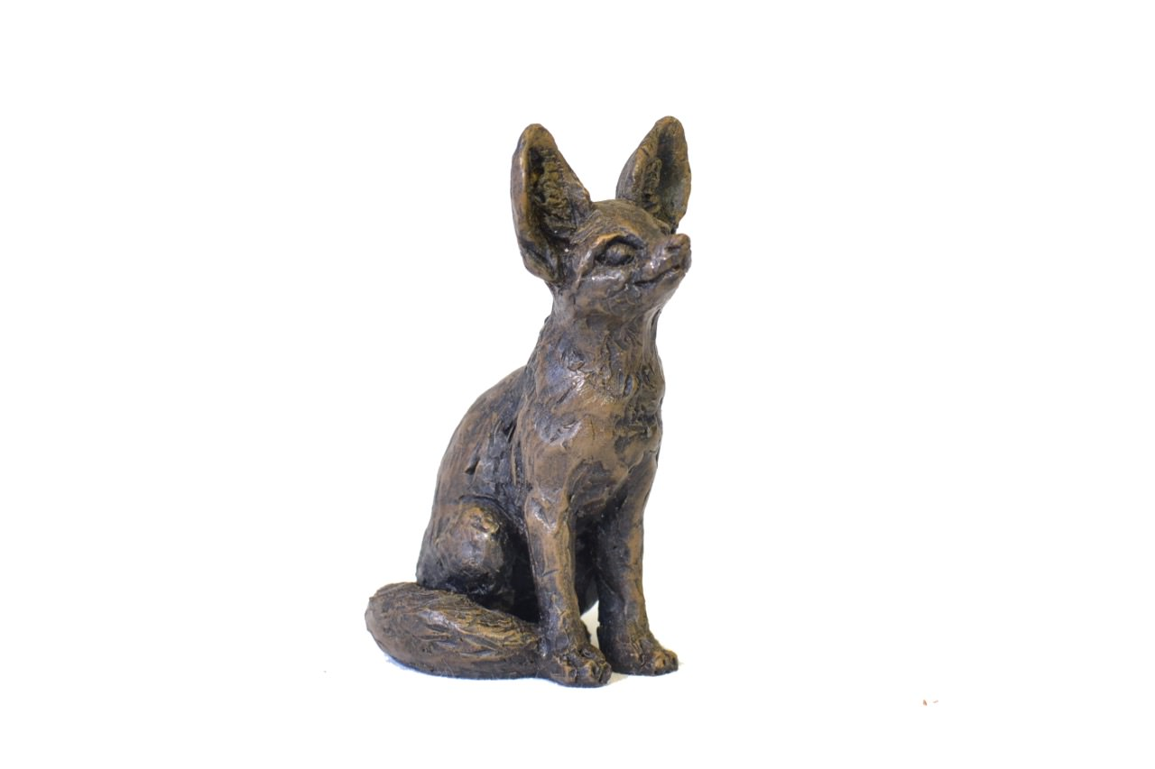 bronze fennec fox sculpture by animal sculptor tanya