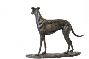 Left side view of greyhound sculpture