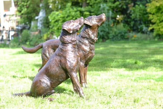 Labrador pair sculpture
