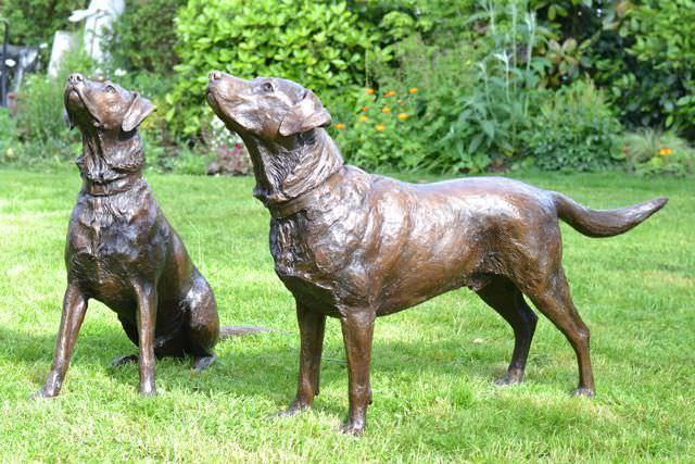 Pair of Labradors - dog sculpture
