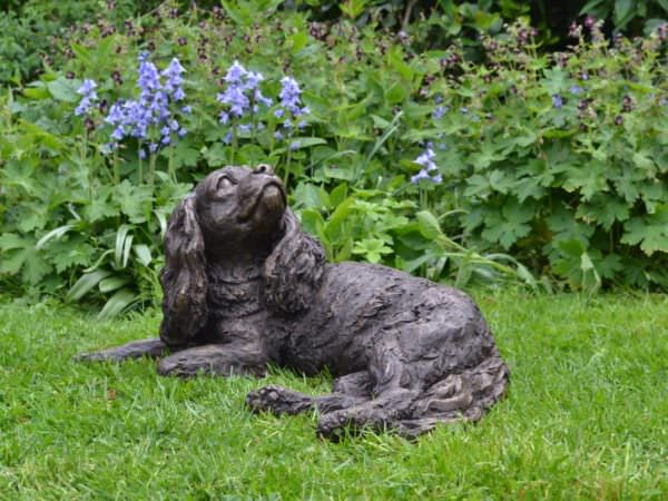 Lying Cavalier King Charles Spaniel sculpture - quarter left view