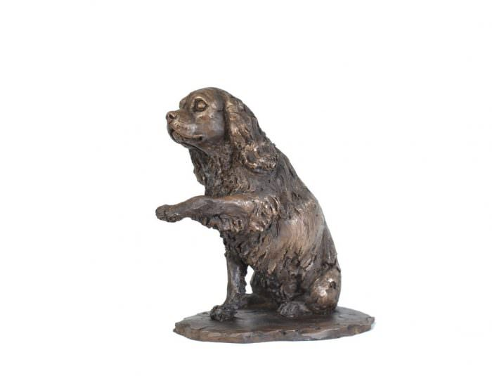 Cavalier, Waving Paw sculpture right side view