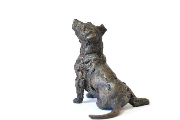 Jack Russell Terrier sculpture - rear quarter left view