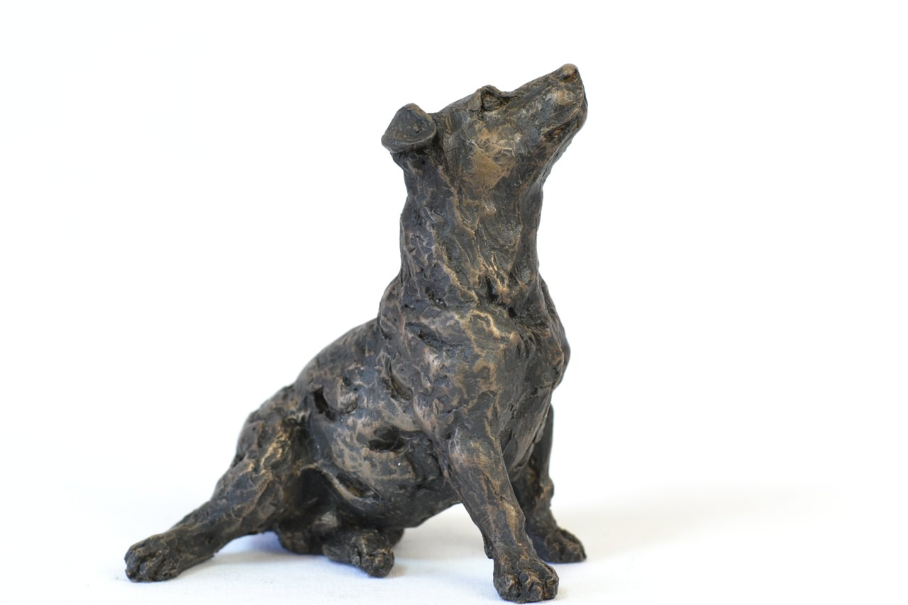 bronze jack russell terrier sculpture by sculptor tanya