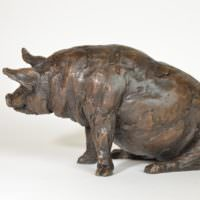 Sitting Pig sculpture - left side view