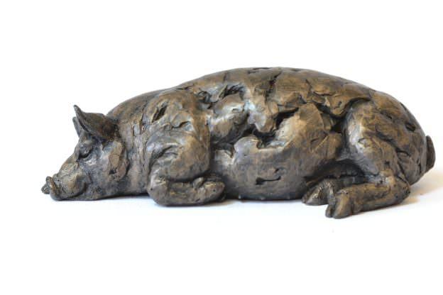 Sleeping Pig sculpture - left side view