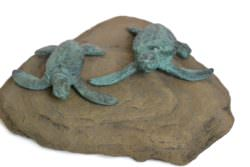 Turtle Sculpture Pair on Rock - Tanya Russell Animal Sculpture
