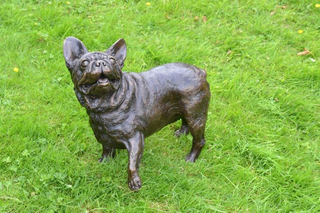 French Bulldog sculpture, lifting paw