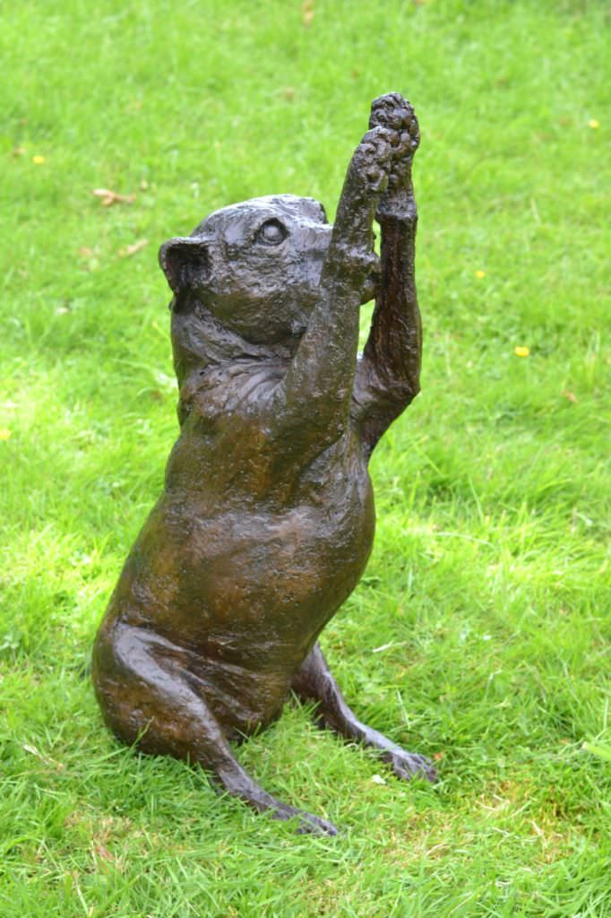 Staffie Waving Paws sculpture