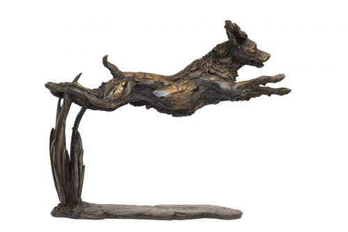 LEAPING SPANIEL SCULPTURE