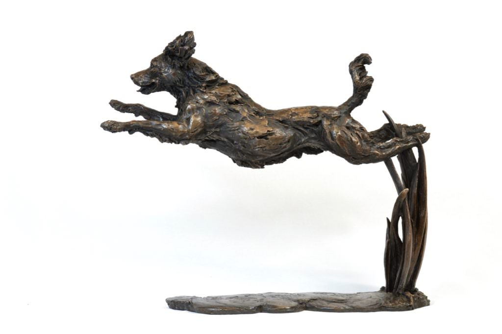 Leaping Spaniel sculpture by Tanya Russell, ARBS