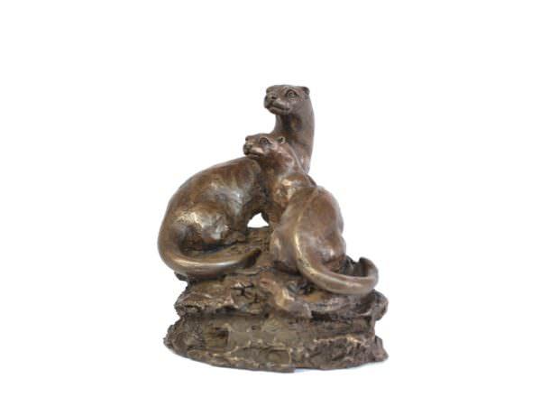 Otter Pair sculpture - quarter left view