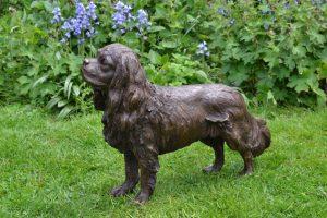 Standing Cavalier King Charles Spaniel sculpture quarter left view