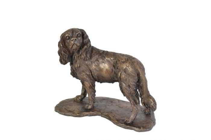 Standing Cavalier Spaniel sculpture - front view