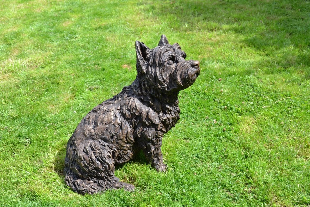Bronze sitting west highland terrier sculpture by tanya russell - Imperial westies ...