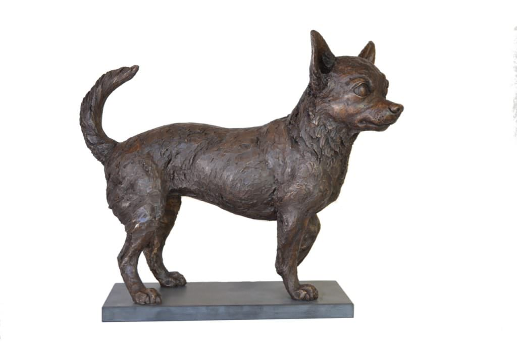 Chihuahua sculpture by Tanya Russell left side view
