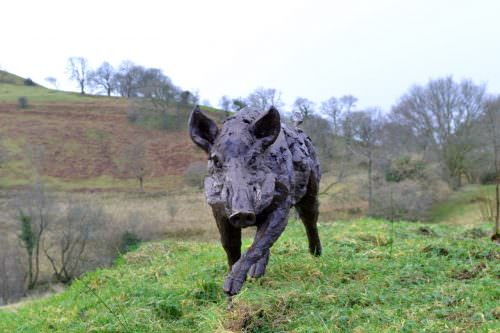 RUNNING WILD BOAR SCULPTURE