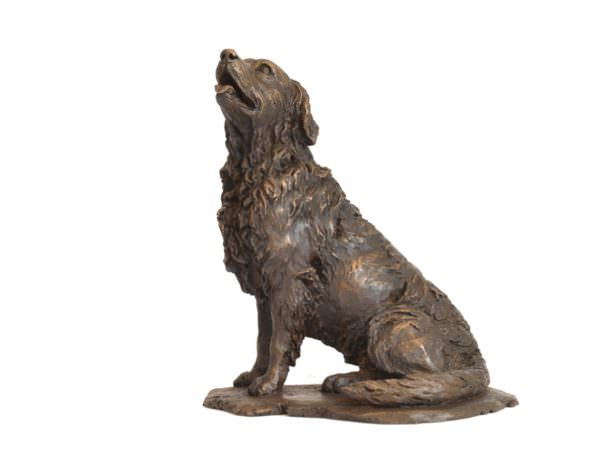 Sitting retriever sculpture left side view