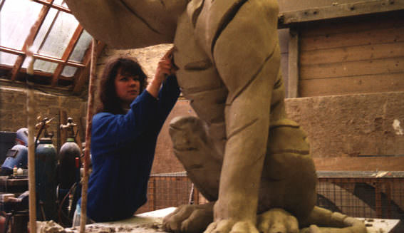 Animal Sculptor - me sculpting a tiger animal sculpture during my apprenticeship
