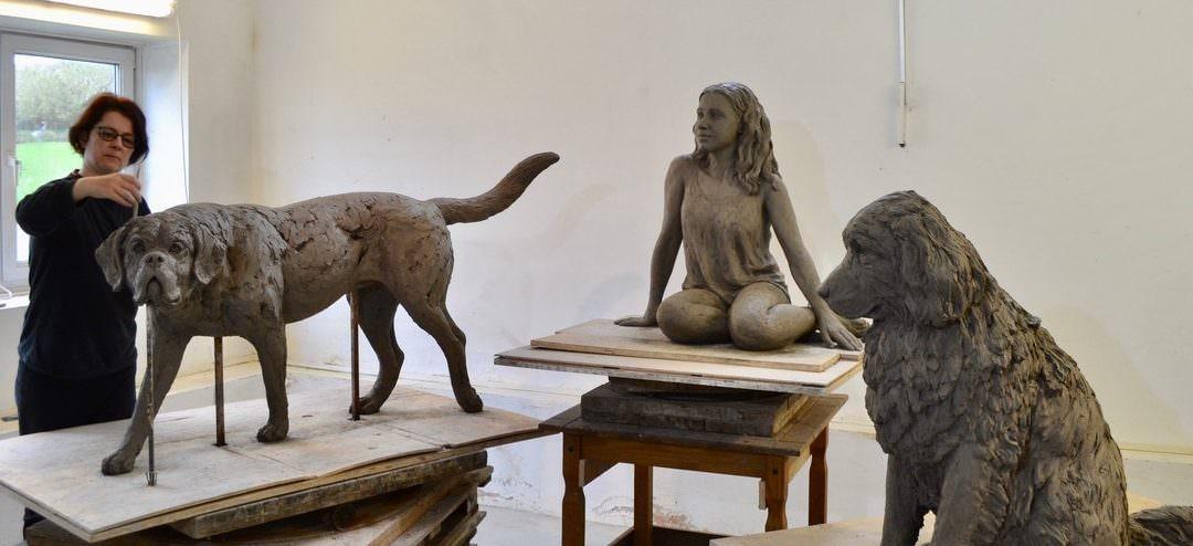 New Newfoundland, St Bernard and Girl Sculpture Commission
