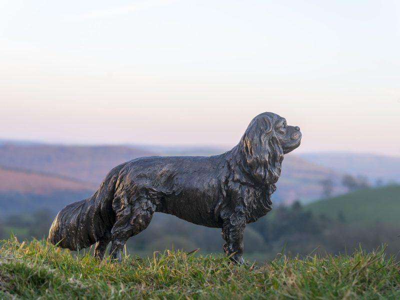 standing cavalier king charles spaniel sculpture