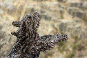 bearded collie statue