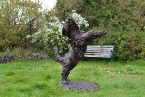 bearded collie dog sculpture