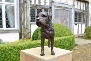 Border Terrier Standing Bronze Sculpture image, dog statue sculpted by Tanya Russell, from the front