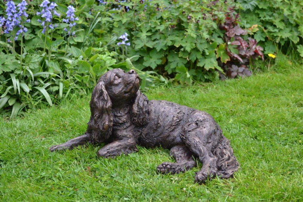 Bronze Cavalier King Charles Spaniel Dog Sculpture