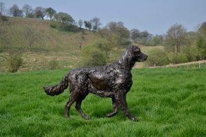 Bronze Walking English Setter Dog Statue