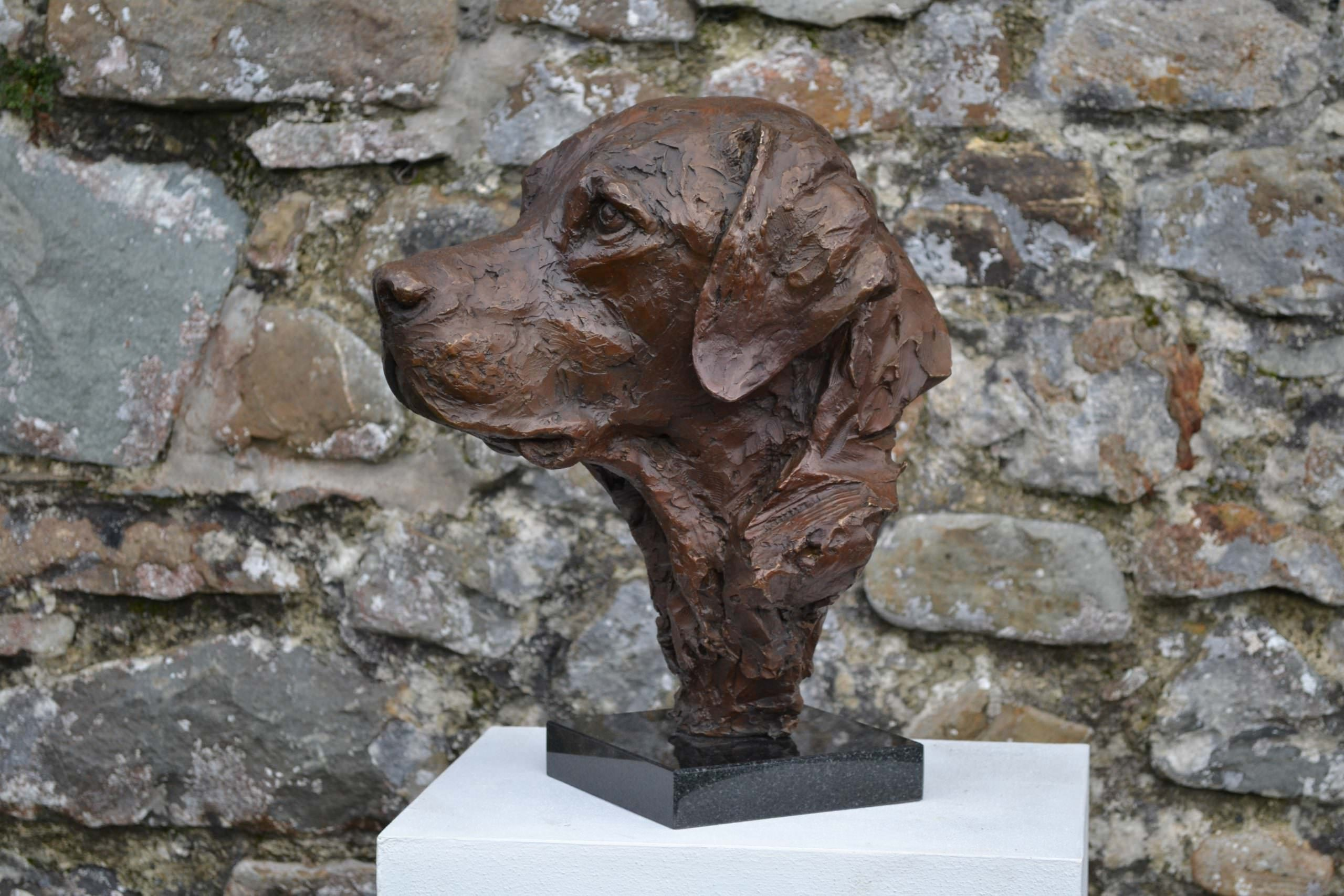 'Stargazers' man and dog on ring sculpture