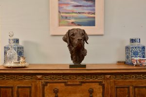 bronze labrador head sculpture