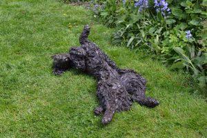 bronze rolling spaniel statue