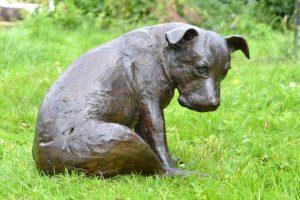 sitting staffie sculpture
