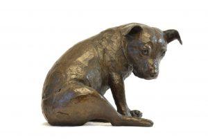 bronze staffie sculpture