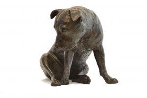 bronze staffie statue