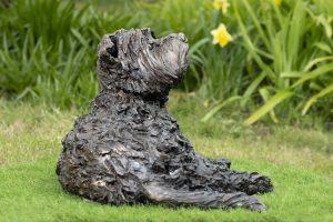bronze lying yorkshire terrier sculpture