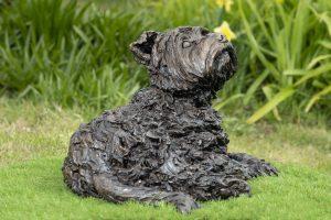 bronze lying yorkshire terrier statue
