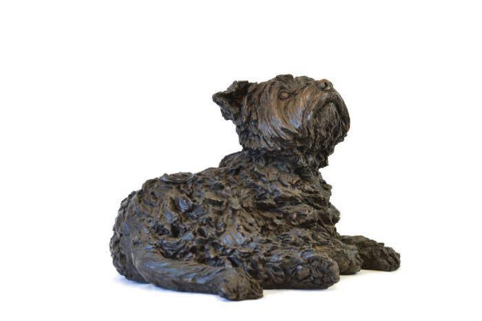 LYING YORKSHIRE TERRIER SCULPTURE