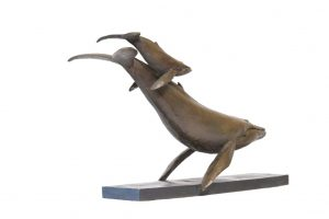 WHALE AND CALF SCULPTURE
