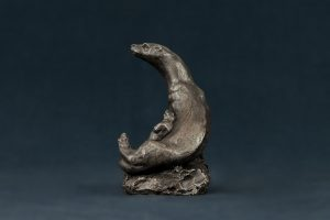 bronze otter and cub sculpture