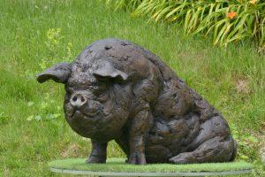 Bronze pig sculpture