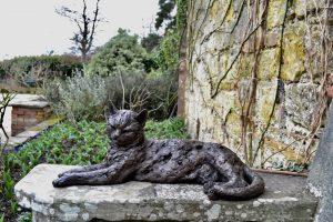 Lying Cat Bronze Outdoor Sculpture