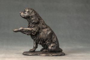 King Charles Waving Paw Bronze Art