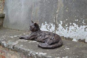 Lying Cat Garden Sculpture