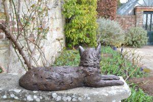 Lying Cat Outdoor Sculpture