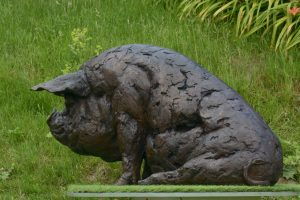 Garden Bronze Pig sculpture